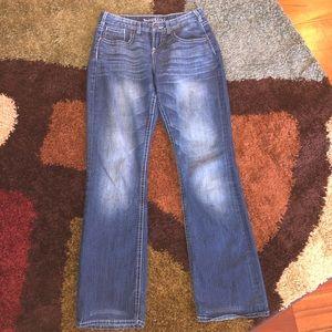 Maurice's Wide Leg Blue Jeans, Size 3/4 Long